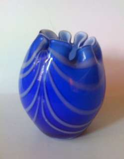 Vintage Rim Ruffled Blue Murano Art Glass Vase