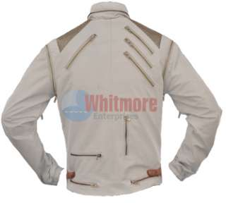 Michael Jackson Beat It Vintage Replica White Faux Leather Jacket