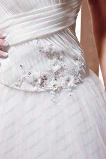 Custom Made Classic White High Neck Beaded Long Wedding Dress