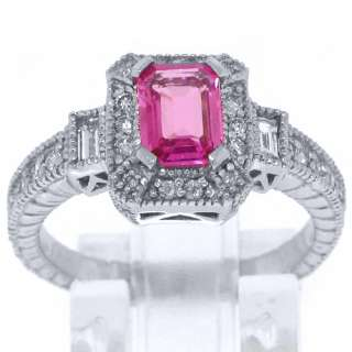 PINK SAPPHIRE DIAMOND ENGAGEMENT RING 1.5 CARAT EMERALD CUT WHITE GOLD