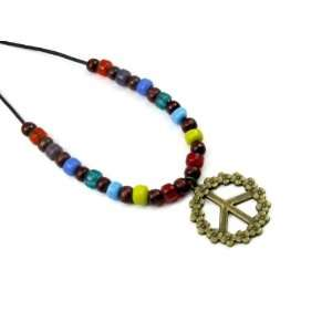 Floral Peace Sign Pewter Pendant on Adjustable Necklace, Accented with
