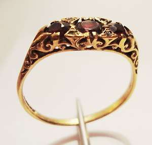 ANTIQUE VICTORIAN FILIGREE STAMPED W.E.G 375 9CT HALLMARK GARNET