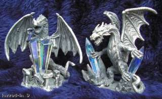 MEDIEVAL PEWTER DRAGON W/CRYSTAL NEW SET OF 2 X 6 SETS