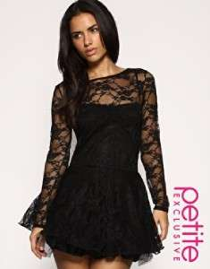 NWT  PETITE EXCLUSIVE LACE SKATER DRESS BLACK UK 6