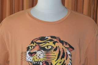 Ed Hardy SHORT SLEEVE ORANGE TIGER T SHIRT MENS XXL 2XL
