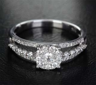 68ct DIAMOND 14K WHITE GOLD ENGAGEMENT WEDDING RING $$