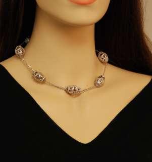 Doris Panos 18K White Gold Diamond Oval Necklace