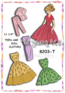 8203 Vintage Doll Clothes Teen Pattern Barbie 11 1/2