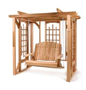 Cedar Pergola Arbor Swing Set Outdoor Patio Garden NEW