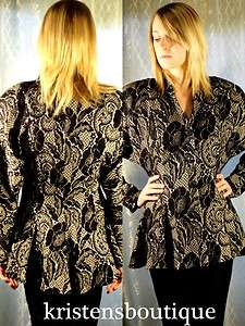 40s Black & Metallic Gold Floral Flared Peplum Batwing Jacket M FAB