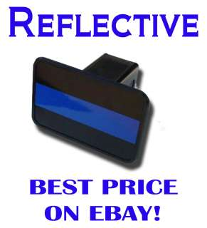 Blue Line Hitch Cover   Reflective   PLUS FREE BONUS DECAL