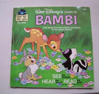 Disney See Hear Read ** Bambi 33 1/3 RPM RECORD & BOOK