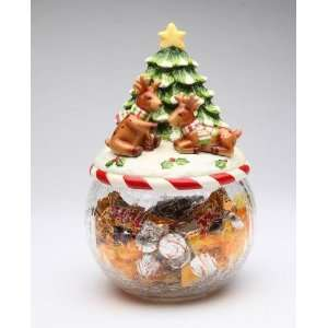 I Believe Playing Reindeer w/ Tree on Glass Cookie Jar