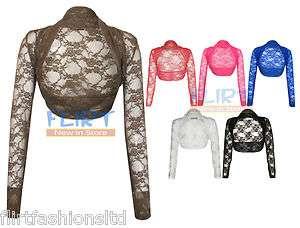 Womens Bolero Ladies Floral Lace Cropped Shrug Long Sleeve Crop
