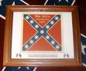 Framed Confederate Flag, Civil War Flag, 18th Louisiana Infantry Flag