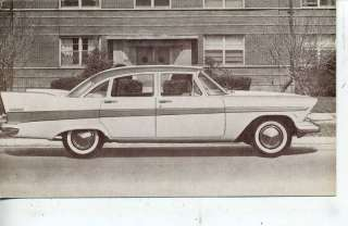1957 PLYMOUTH BELVEDERE CAR DEALER ADVERTISING POSTCARD