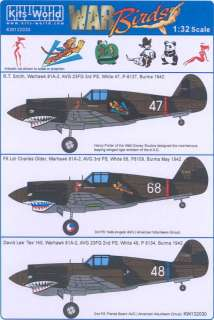Kits World Decals 1/32 CURTISS P 40 WARHAWK SHARKMOUTH AVG & British