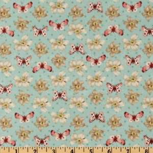 44 Wide Love & Kisses Tossed Floral & Butterflies Aqua Fabric By The
