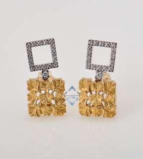 Carrera 18K Yellow White Gold & Pave Diamond Gingko Leaf Earrings