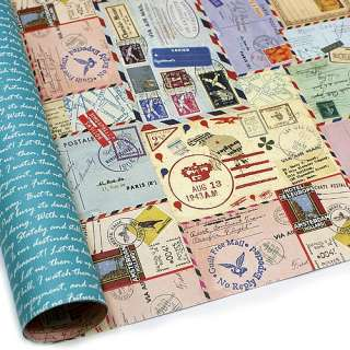 Post Stamp Double sided Gift Wrapping Paper 5 Sheets
