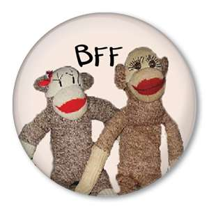 BFF   Best Friends Forever SOCK MONKEY pin button doll
