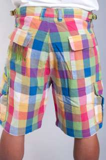 HUNDREDS GREEN WHITE RED BLUE YELLOW MAD PLAID CARGO SHORTS SIZE 38