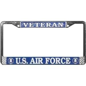 Air Force Veteran Chrome License Plate Tag Frame