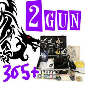 TOP New 2 Tattoo Machine Gun Kit Set Power Supply 365+