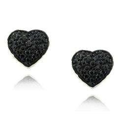 Sterling Silver Black Diamond Accent Heart Earrings
