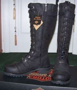 Harley Davidson Womens Tall Savannah Boots Sz9 Black leather Lace up