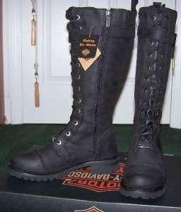 Harley Davidson Womens Tall Savannah Boots Sz9 Black leather Lace up