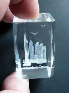 FREEDOM TOWER 3D Laser Engraved Crystals Cube NEW YORK