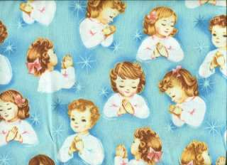 RELIGIOUS PRAYING CHILDREN ON BLUE Cotton Quilt Fabric