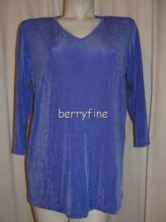 NEW NWT SLINKY BRAND Purple V neck 3/4 Sleeve Blouse Shirt Top Size M