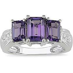 14k White Gold Created Diamond Alexandrite Ring