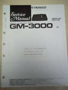 Pioneer Service Manual~GM 3000 Power Amplifier~Original~Repair