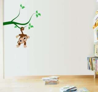 Cute Monkey Hanging in Tree   Vinyl Wall Decal