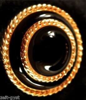 St JOHN BLACK ENAMEL AND GOLD DOUBLE RING BUTTON 7/8 NEW