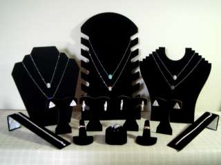 12 Pc Black Velvet Combo Set Necklace~Earring~Ring~Bracelet ~Jewelry