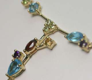 BEJEWELED 5CT MULTI COLOR GEM 10K YELLOW GOLD BOUGH DANGLE NECKLACE