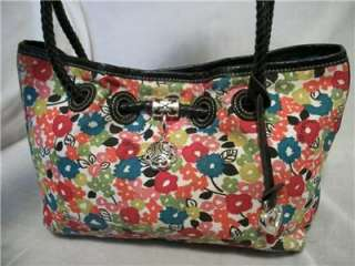 BRIGHTON Floral Canvas & Black Leather Tote Handbag Bag