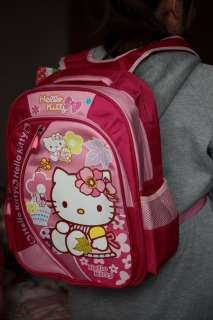 Sanrio Hello Kitty Pink school bag BackPack nylon NEW 3