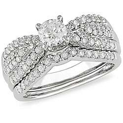 14k White Gold 1ct TDW Diamond Bridal Ring Set (H I, I1 I2