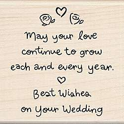 Wood mounted Best Wishes Wedding Rubber Stamp