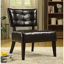 Charlotte Brown Faux Leather Armless Occasional Chair