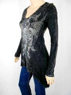 Women Vocal Long Sleeve V neck Wing Cross Tunic Top Asymmetrical Hem.S