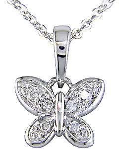 10k White Gold Diamond Butterfly Necklace
