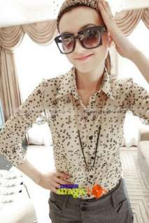 Women Lady Fashion Sweet Cute Star Pattern Chiffon Blouse Shirt Top