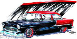 Shirt Hot Rod 1955 55 Chevy Belair 2 door sedan #JR6