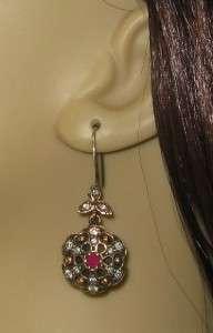 Ruby & Diamond .92ct 925 Sterling Silver/Rose Gold Earrings 12g